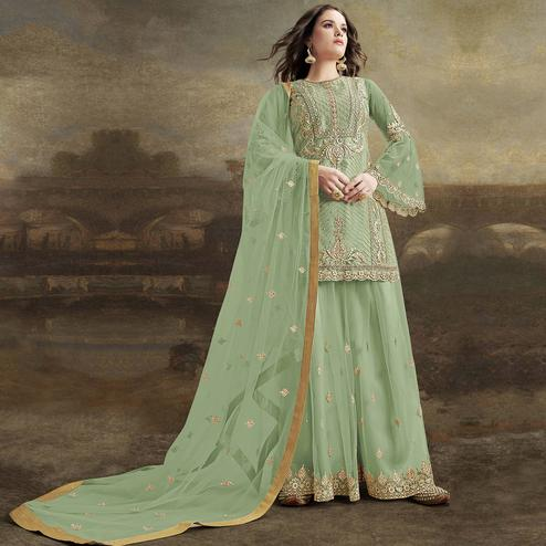 Arresting Light Green Colored Party Wear Embroidered Net Palazzo Suit