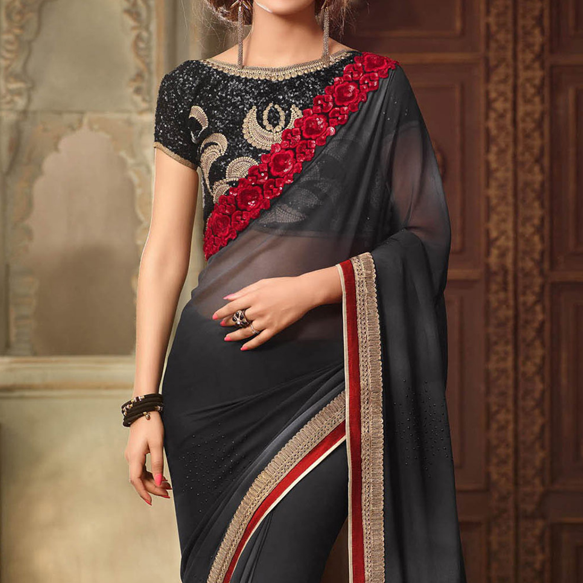 Black Georgette Saree with Embroidered Blouse