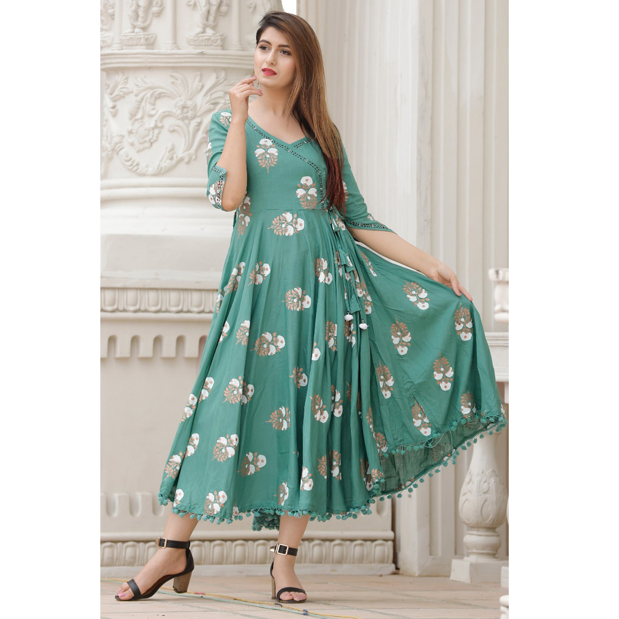 Classy Aqua Green Colored Party Wear Block Printed Rayon Kurti With Stole