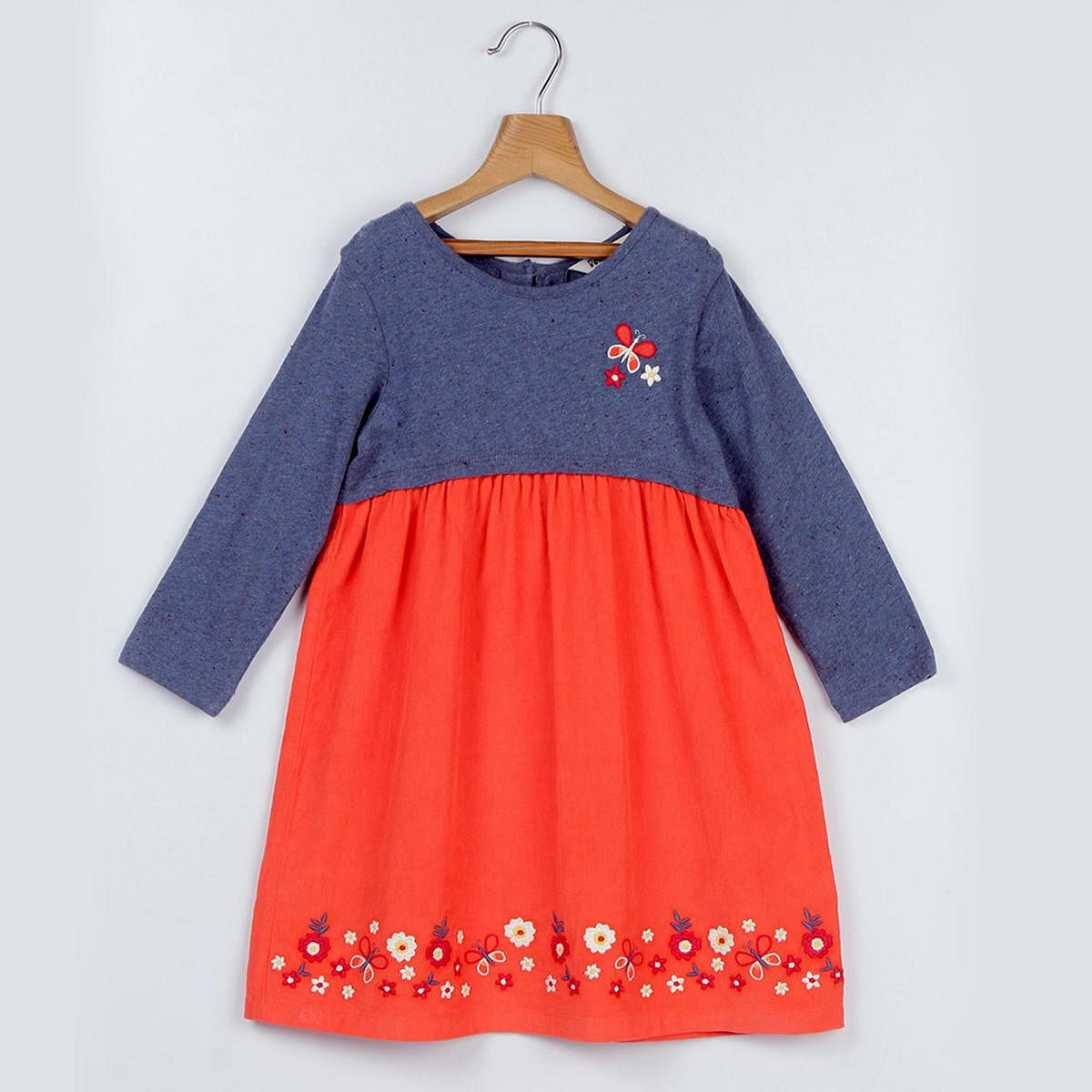 Beebay Butterfly Embroidery Corduroy Dress For Kids