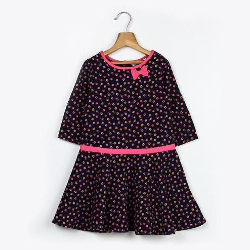 Beebay Small Floral Print Corduroy Dress For Kids