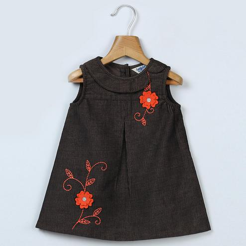 Beebay Floral Embroidery Corduroy Dress For Infants