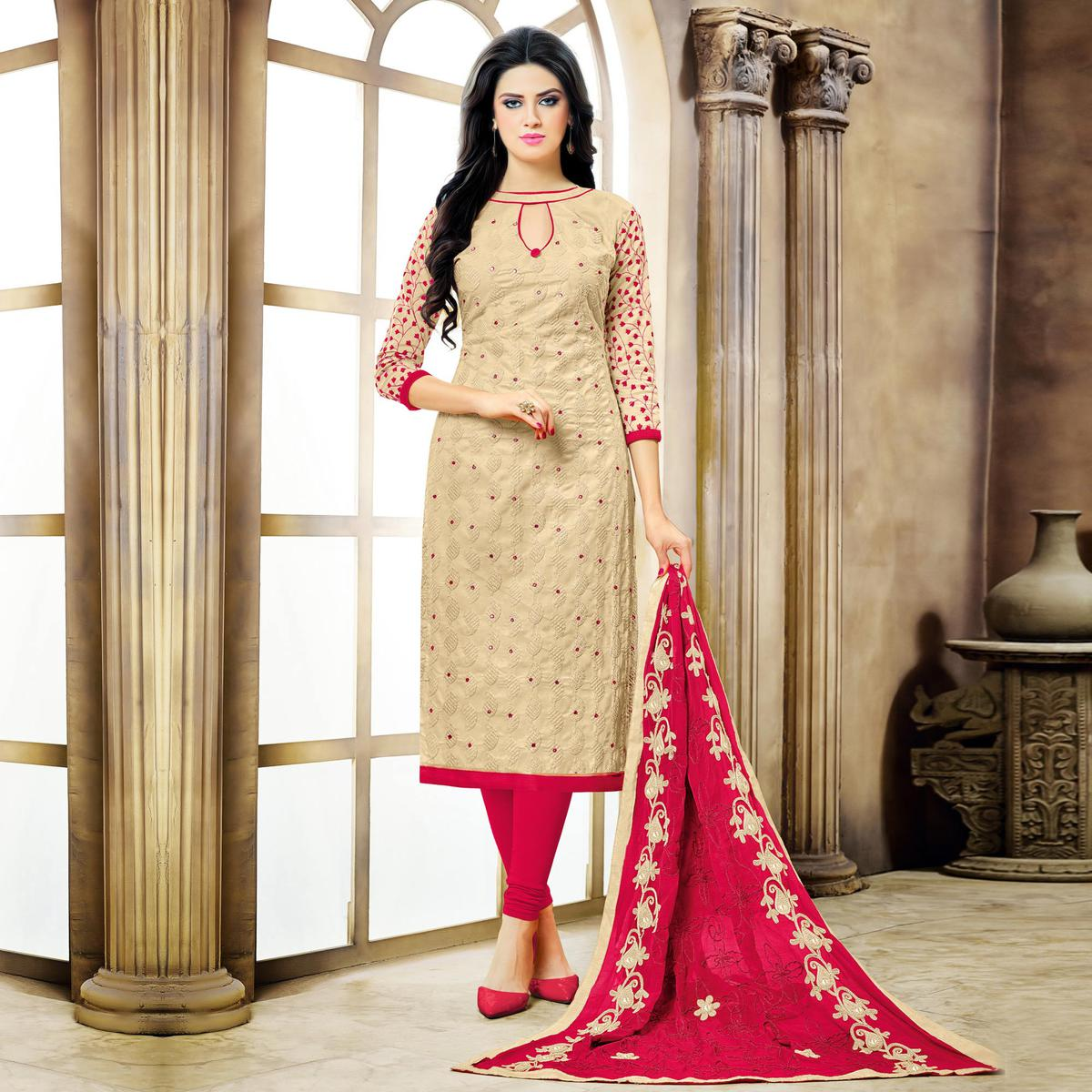 Beige - Pink Embroidered Dress Material
