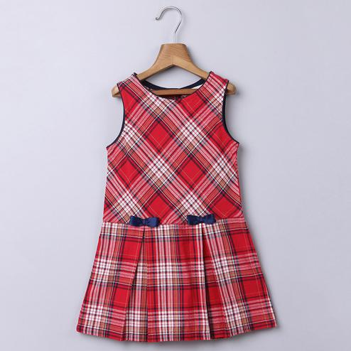 Beebay Red Check Pinafore Dress with Bows For Infants