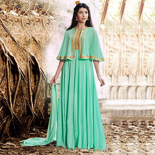 Turquoise Green Cape Style Suit