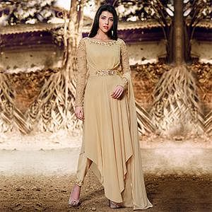 Beige Pleated Georgette Suit