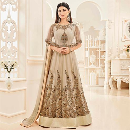 Beige Cape Style Embroidered Anarkali Suit