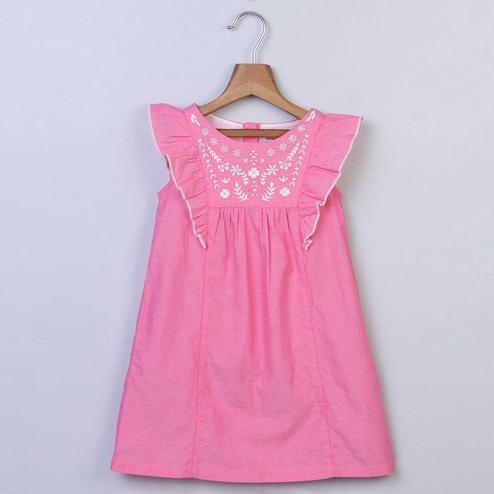Beebay Pink Floral Embroidered Chambrey Dress For Kids
