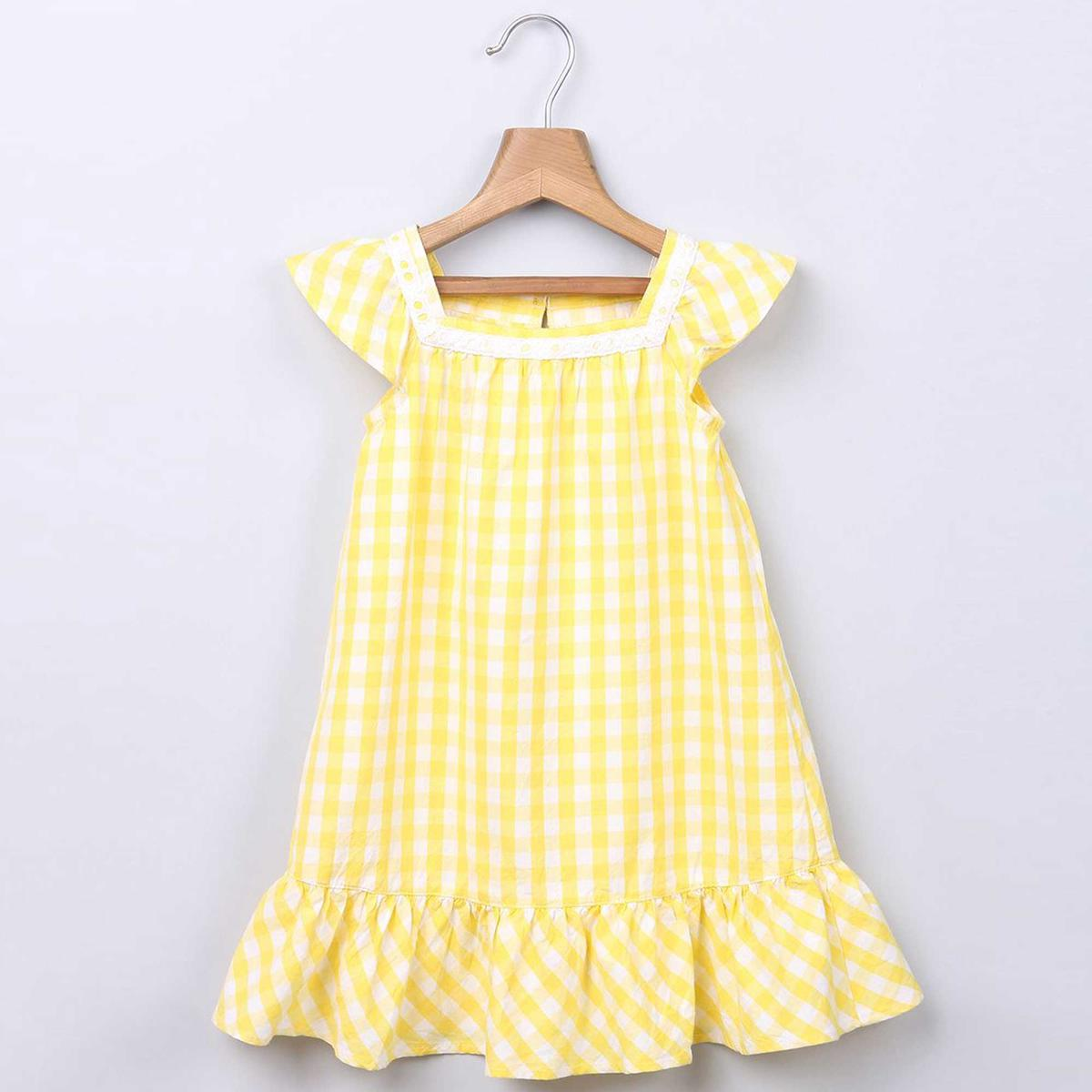Beebay Yellow Gingham Dress with Lace Insert For Kids