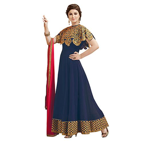 Navy Blue Faux Georgette Suit with Cape