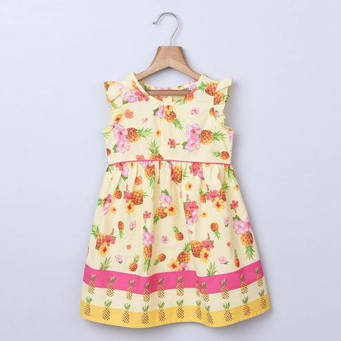 Beebay Pineapple Border Floral Print Dress For Infants