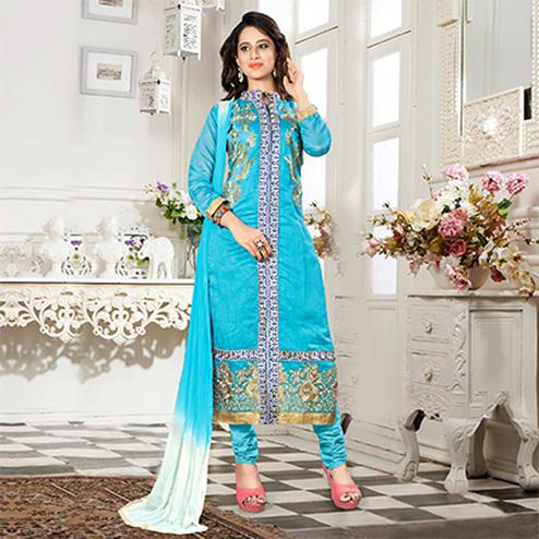 Sky Blue Chadneri Cotton Unstitched Suit