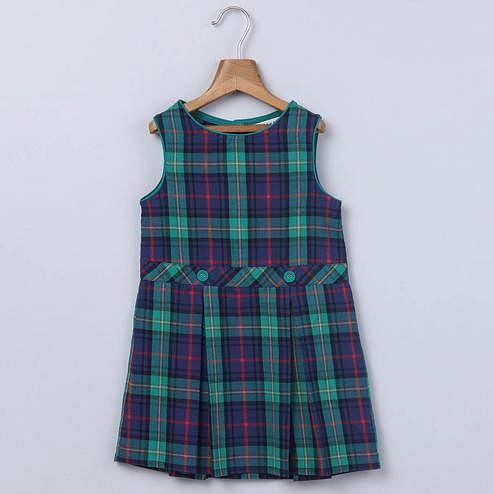 Beebay Green & Blue Plaid Pinafore Dress For Infants