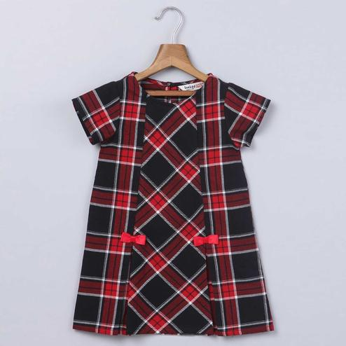 Beebay Red & Black Tartan Dress with Bows For Infants