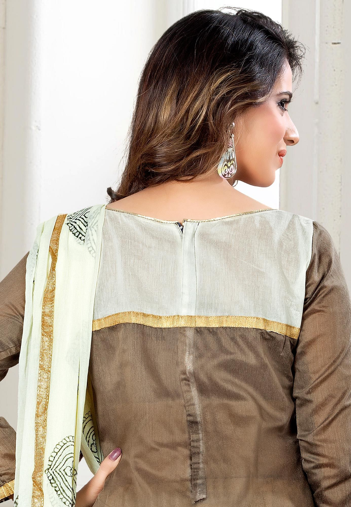 Brown - Off White Embroidered Dress Material