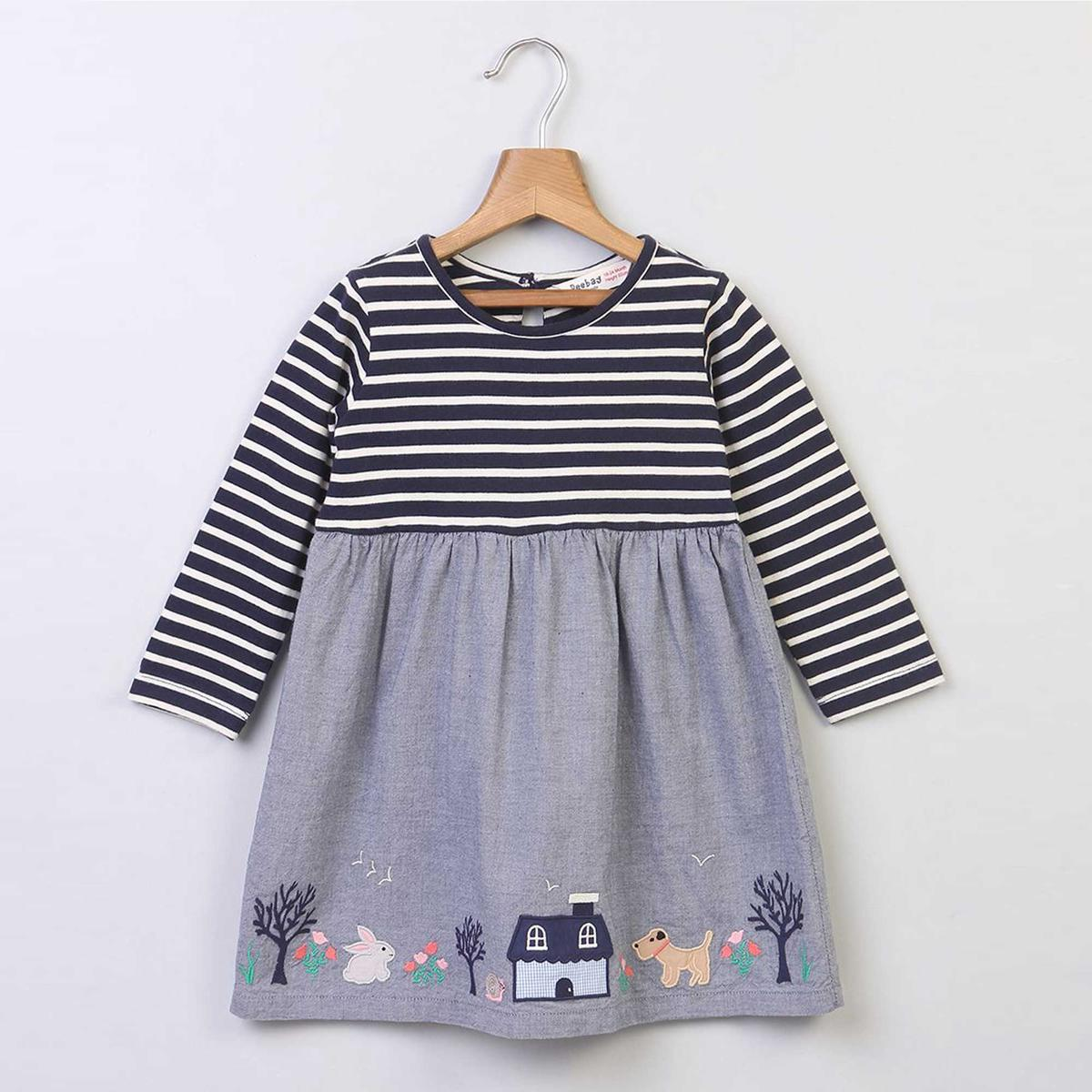 Beebay Chambray & Jersey Embroidered Dress For Kids