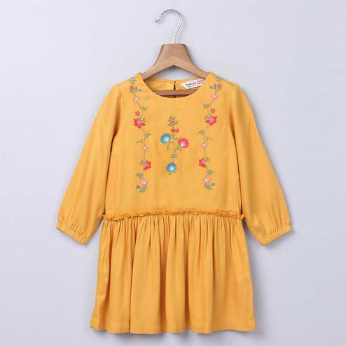 Beebay Floral Vine Embroidery Dress For Infants