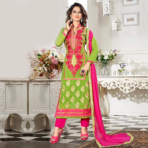 Green - Pink Chanderi Cotton Suit