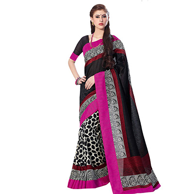 Black - Grey Art Silk Saree
