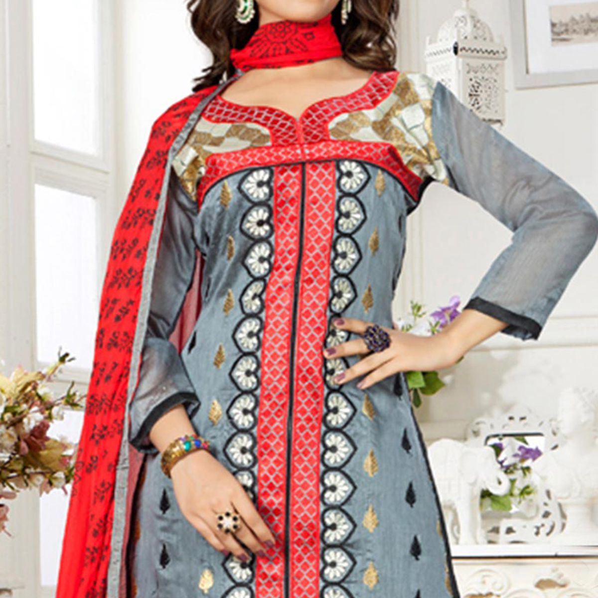 Grey Thread Embroidered Work Dress Material