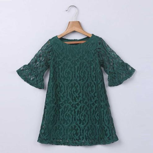 Beebay Olive Lace Dress For Kids