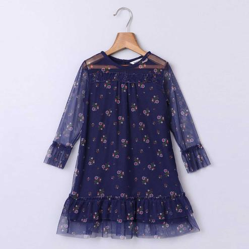 Beebay Navy Blue Ditsy Floral Print Net Dress For Infants