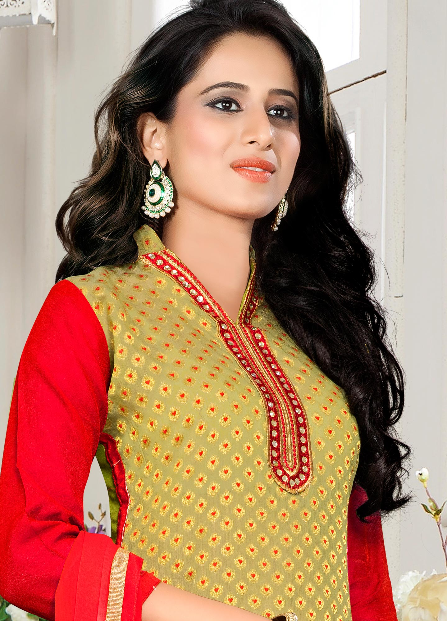 Green - Red Chanderi Cotton Dress Material
