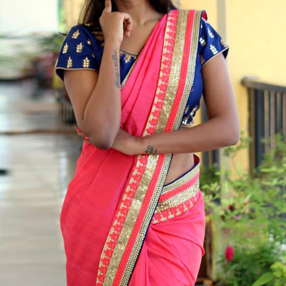 Pink Georgette Saree with Embroidered Blouse