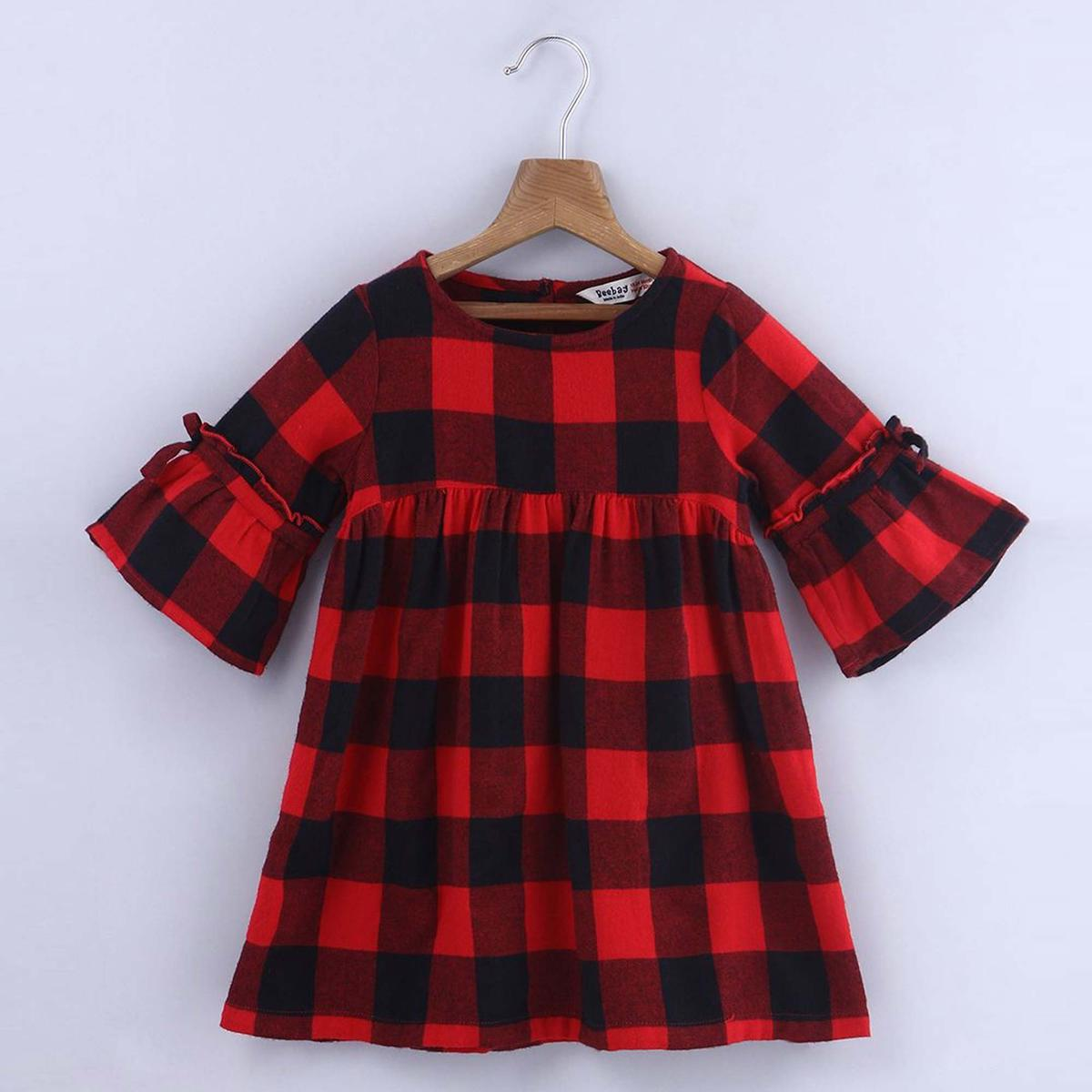 Beebay Red & Black Check Frill Sleeve Dress For Infants