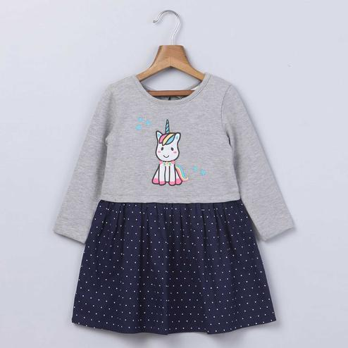 Beebay Grey Unicorn Embroidered Dress For Infants