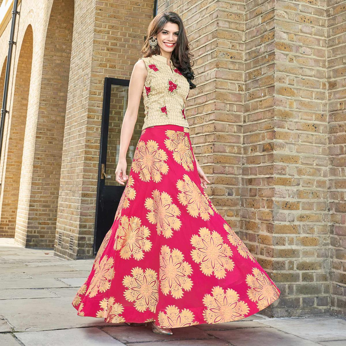 Beige - Pink Cotton Silk Lehenga