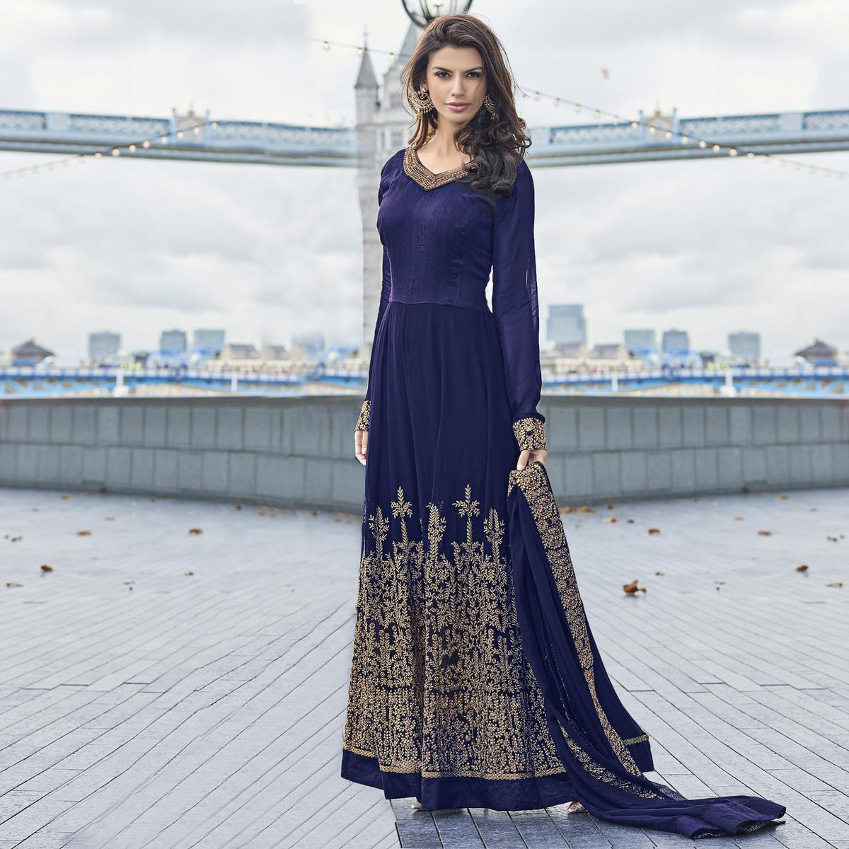 Blue Poly Georgette Semi Stitched Suit