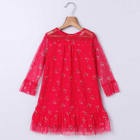 Beebay Red Ditsy Floral Print Net Dress For Infants