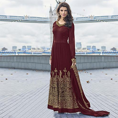 Maroon Semi Stitched Poly Georgette Suit