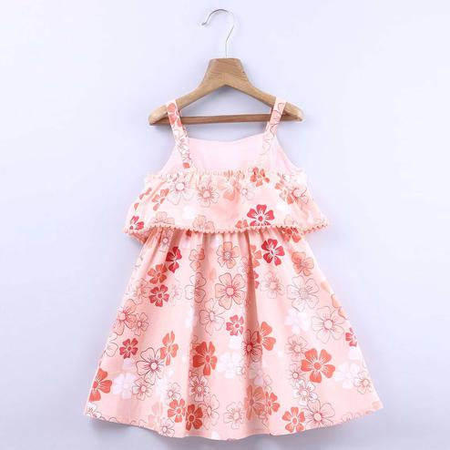Beebay Peach Tonal Floral Dress For Infants