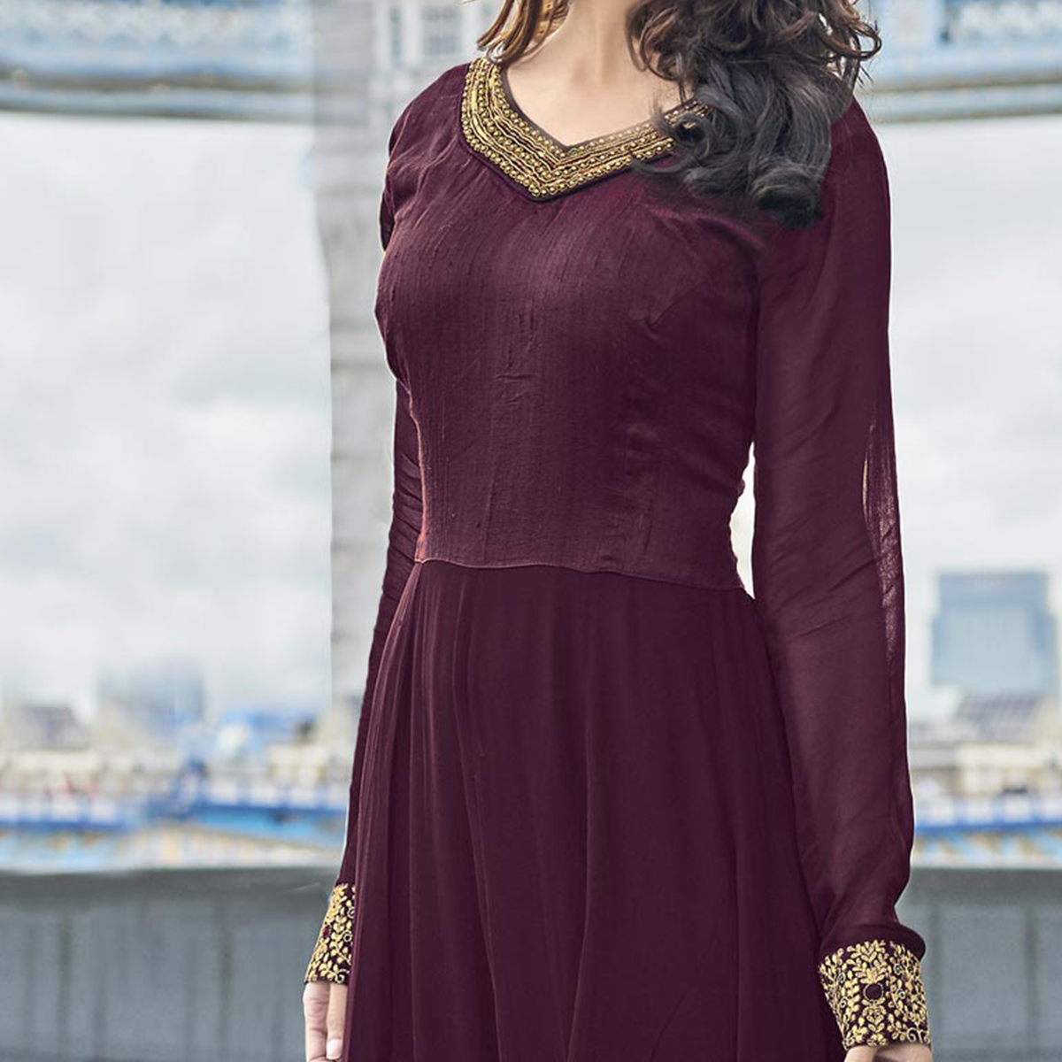Wine Color Embroidered Work Suit