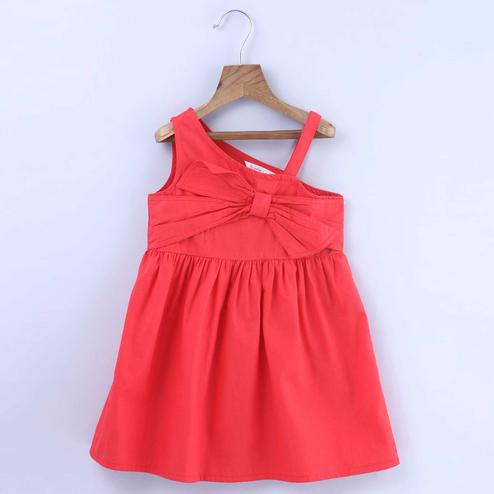 Beebay Front Bow Rust Dress For Kids