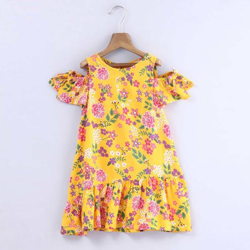 Beebay Yellow Floral Shoulder Cutout Dress For Infants