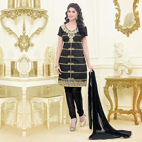 Black Chanderi Unstitched Dress Material