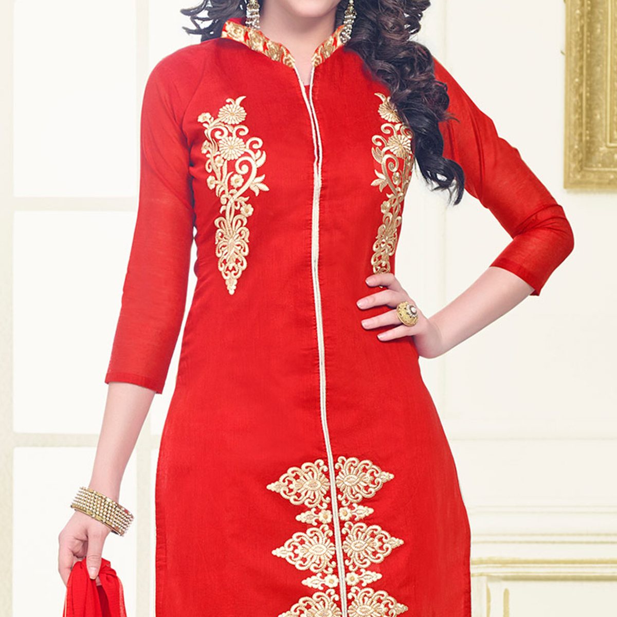 Red Embroidered Work Chanderi Dress Material