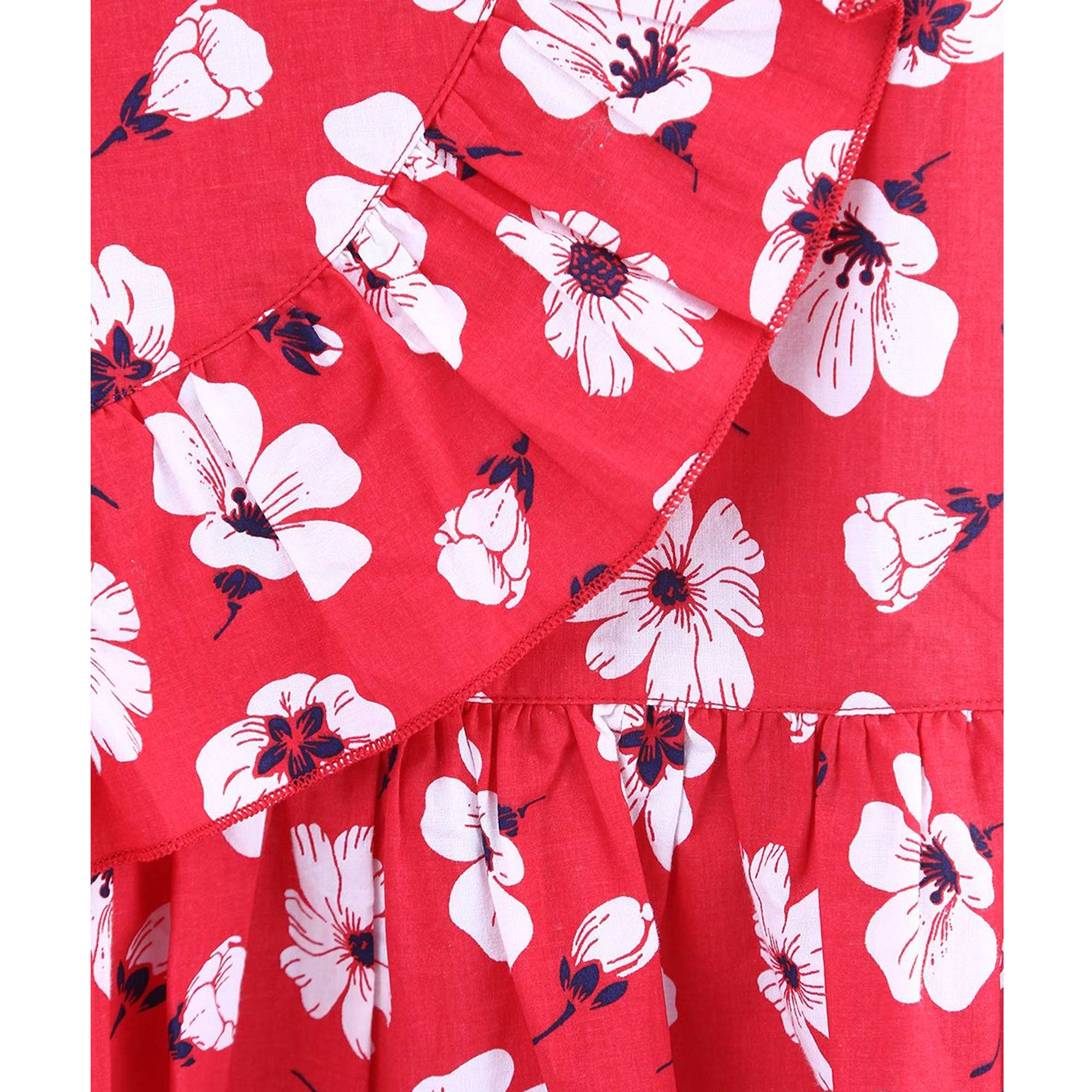 Beebay Red And White Floral Dress For Kids