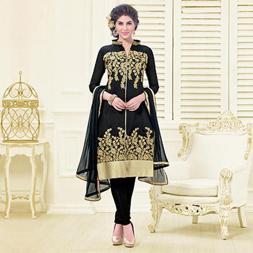 Black Embroidered Chanderi Suit