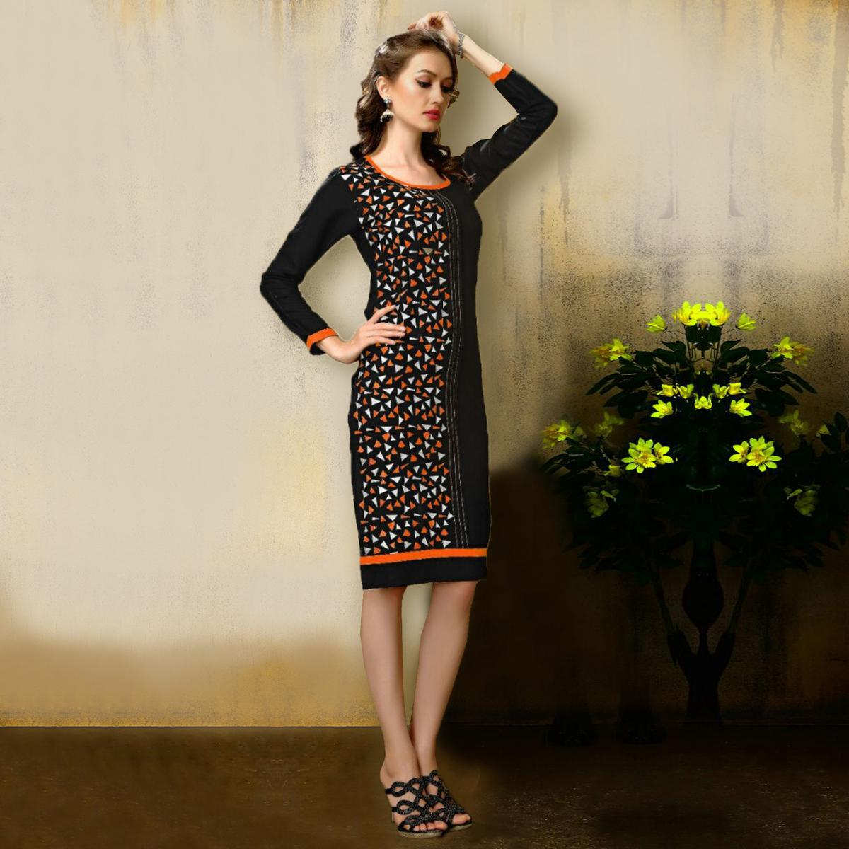 Black Party Wear Rayon Kurti
