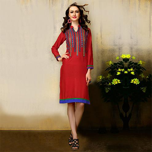 Red Full Sleeves Embroidered Kurti
