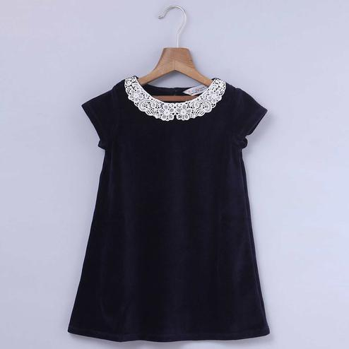 Beebay Navy Blue Colored Lace Collar Velour Dress For Infants