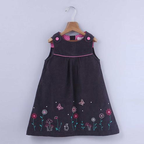 Beebay Floral Embroidered Pinafore Dress For Kids