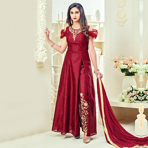Red Cotton Silk Pant Style Suit with Side Slit