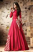 Red Embroidered Work Silk Anarkali Suit
