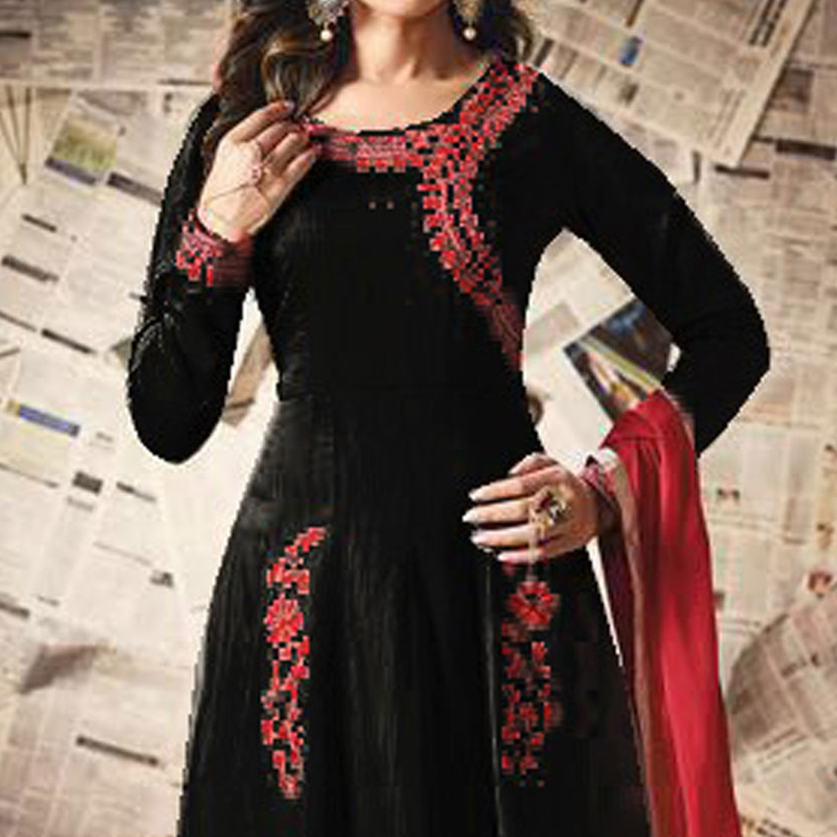 Black Floor Length Anarkali Suit in Silk