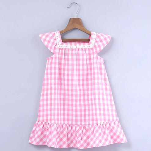 Beebay Pink Gingham Dress With Lace Insert For Kids